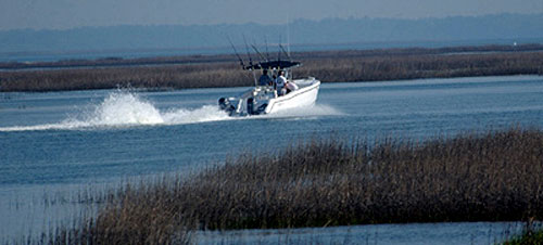 The Polecat boat heads out for another day of charter fishing on Hilton Head Island, SC